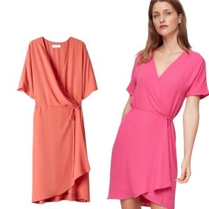 Aritzia Babaton Wallace Short-Sleeve Wrap Dress